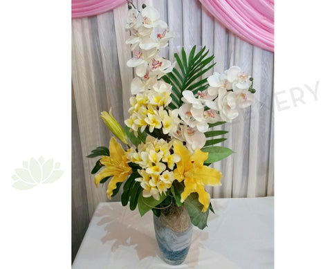 FA1046 - Frangipani Orchid & Lily Arrangement (70cm Height)