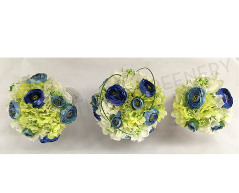 Round Bouquet - Bue Lime White - Emma