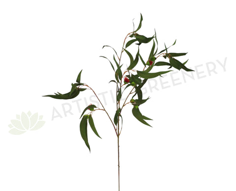 F-ASB-GB10GREEN Gum Blossom / Eucalyptus Branch Green 98cm with Nuts (Real Touch)