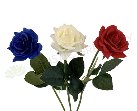 F-SP0107 Real Touch Quality Single Rose Stem 42cm Latex Rose Blue / White / Red | ARTISTIC GREENERY