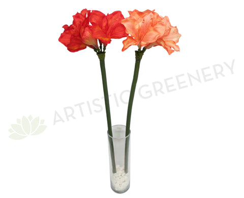 F0001 Amaryllis Stem 108cm Blood Orange & Pale Orange