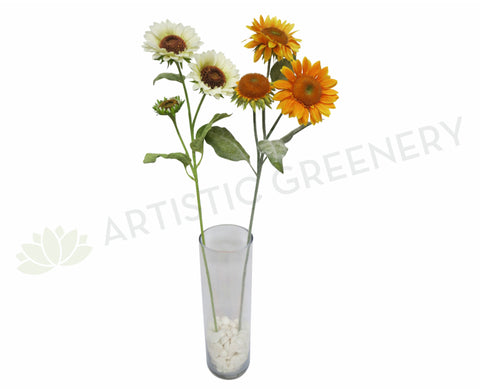 F0006 Sunflower Spary 92cm White / Yellow