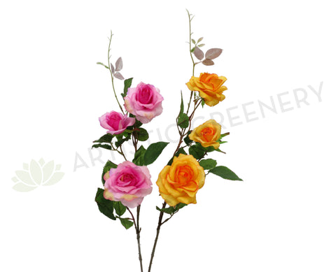 F0023 Garden Rose Spray 80cm Pink / Orange