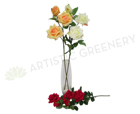 F0039 Deluxe Rose Spray 85cm Orange / White / Red / Pink