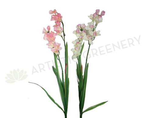 F0041 Orchid Spray with Leaves 112cm 2 Colours