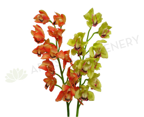 F0056 Cymbidium Orchid Spray Real Touch 100cm Yellow / Orange