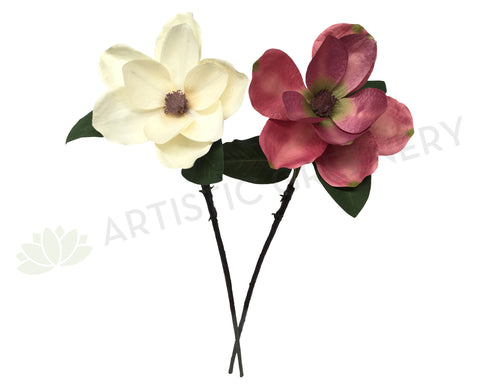 F0058 Large Magnolia Stem 83cm Cream / Pink (Adjustable Petals)