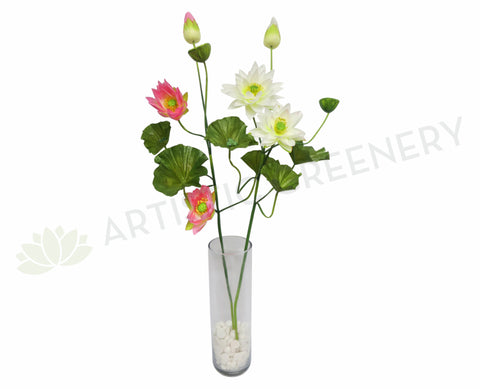 F0072 Water Lily / Lotus Spray 120cm White / Pink