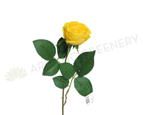 F0095YEL Rose Single Stem (Open ) Real Touch 54cm Yellow
