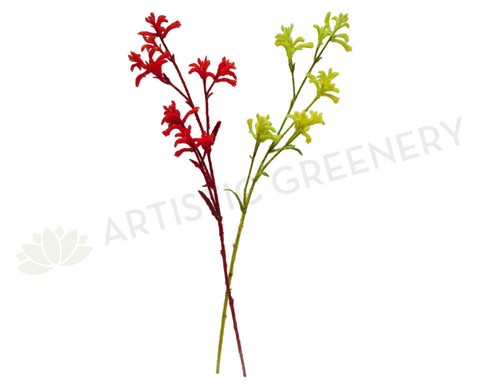 F0104NEW Kangaroo Paw Spray 76cm Red / Yellow