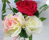 F0110 Rose Spray (1 Open & 1 Bud) Silk 42cm zoom