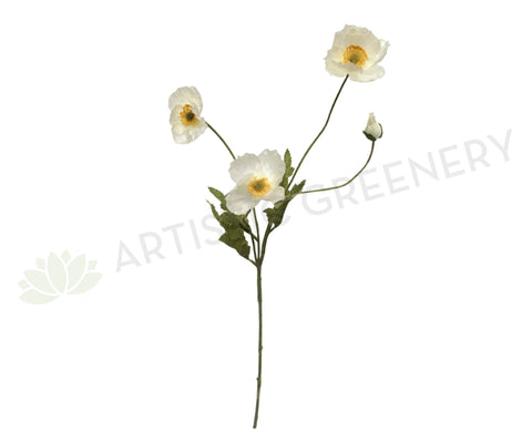 F0111 Poppy Spray 60cm White