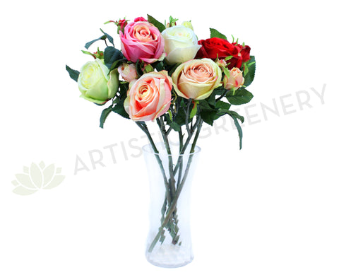 F0117 Large Rose Spray Silk (6 colours) 52cm