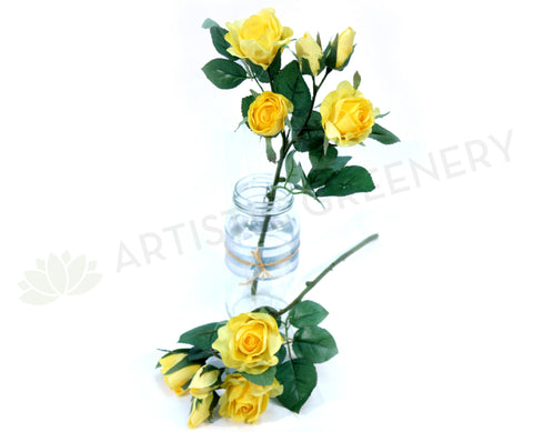 F0128 Yellow Rose Spray 38cm
