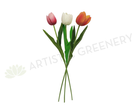 F0135HO Tulip (Half Open) Real Touch 52cm Pink / White / Orange