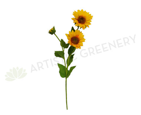 F0136 Sunflower Spray 64cm Yellow (2 flowers 1 bud)