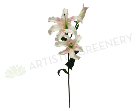 F0137 Oriental Lily Spray ( Real Touch ) White with Pink Spots 90cm