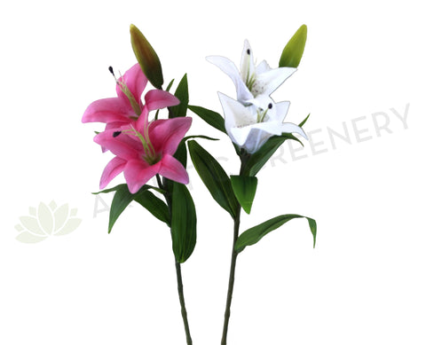 F0138L Oriental Lily Spray (Real Touch) 74cm White / Pink