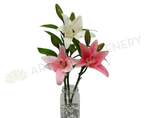 F0138 Oriental Lily Spray (Real Touch) 37cm White / Pink