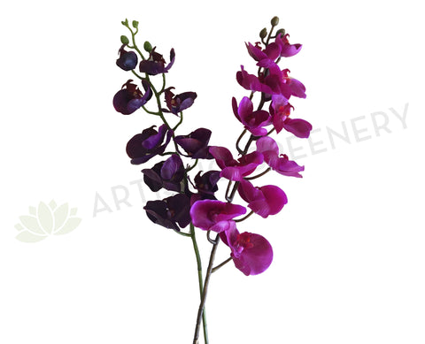 F0142 Phalaenopsis Orchid Spray Real Touch 100cm 2 Colours Pink / Purple