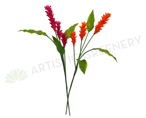 F0143 Ginger Torch with Leaves Real Touch 110cm Pink / Orange