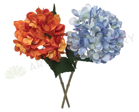 F0148 Hydrangea Single Stem 46cm Orange / Blue