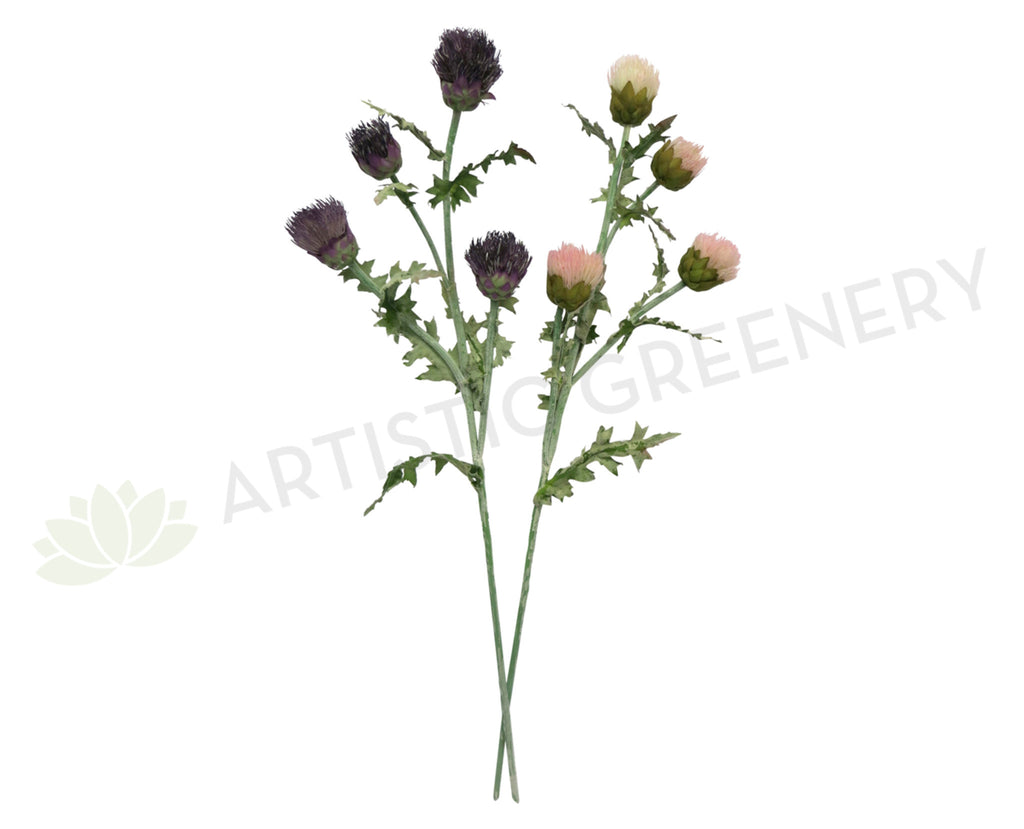 f0155 artificial scottish thistle spray 85cm purple pink