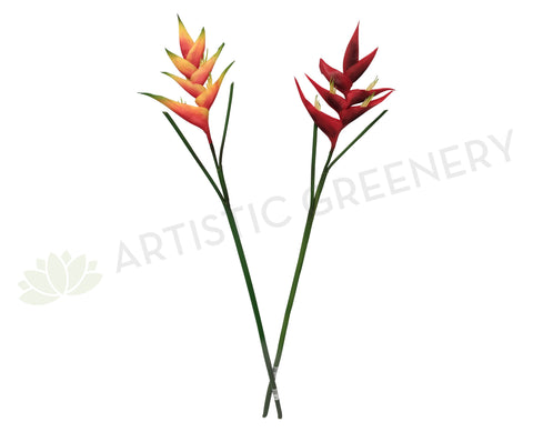 F0163 Heliconia Single Stem Real Touch 85cm Red / Orange (Tropical)