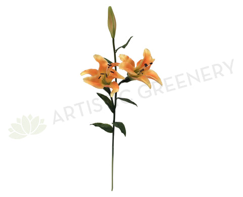 F0164 Lilium / Oriental Lily Spray Real Touch 83cm Orange