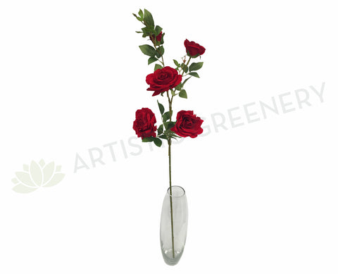 F0170 Deluxe Velvet Rose Spray 110cm Red