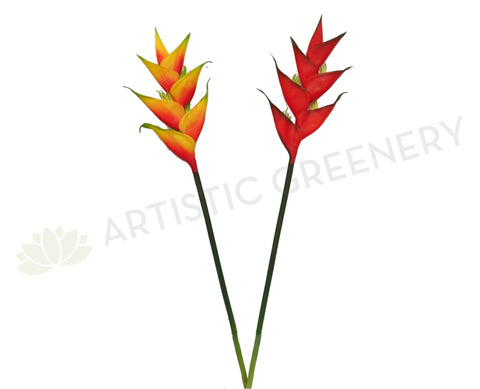 F0199 Heliconia / Crab Claw Flower Single Stem Real Touch 91cm Orange / Red (Tropical)