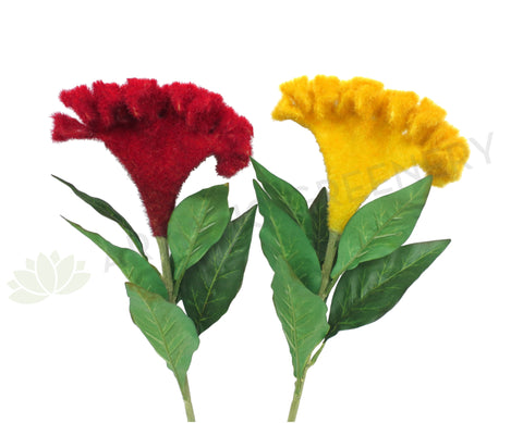 F0202 Cockscomb Flower 83cm Red / Yellow