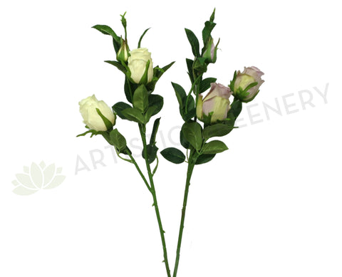 F0211 Half Open Rose Spray 66cm Cream / Mauve