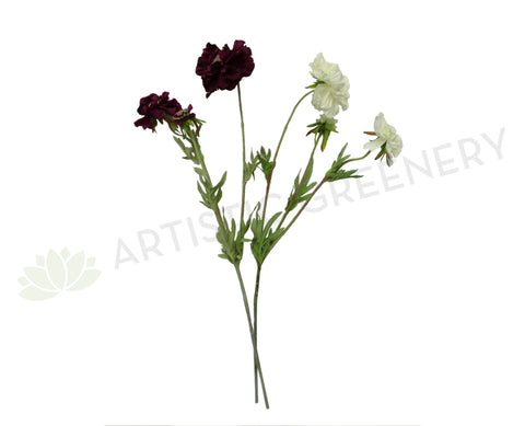 F0214 Scabious Spray 72cm Plum / White