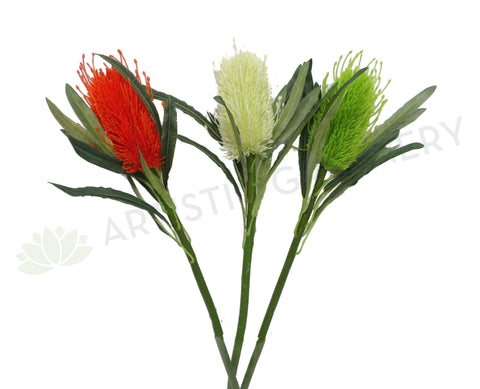 F0218 Banksia Stem 60cm Orange / White / Light Green / Cream