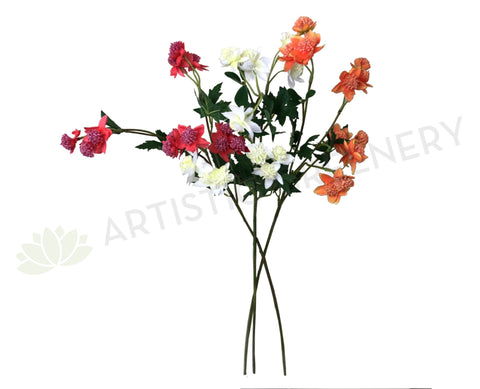 F0228 Astrantia Spray 60cm Red / White / Orange
