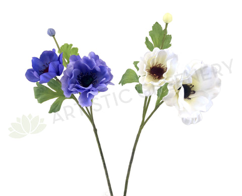 F0230N Anemone Spray 49cm Purple / White