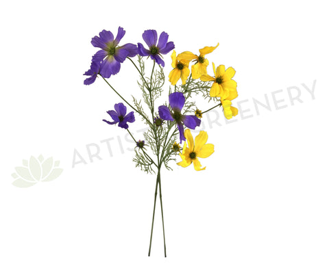 F0233 Cosmos Spray 80cm Purple / Yellow