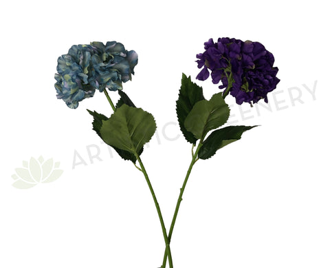 F0241 Hydrangea Single Stem 82cm Turquoise / Purple