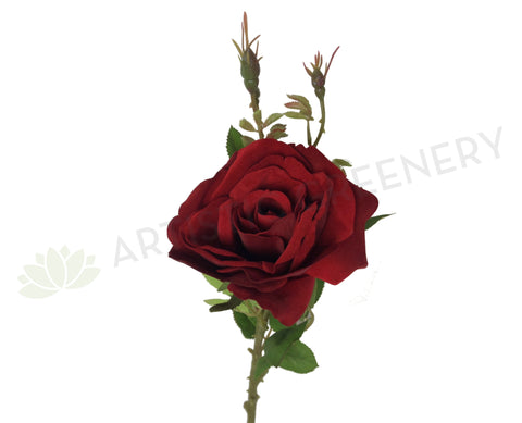 F0242 Single Velvet Rose Spray 69cm Red