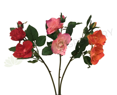 F0247 Open Garden Rose Spray 45cm Red / Pink / Orange (Clearance Stock)