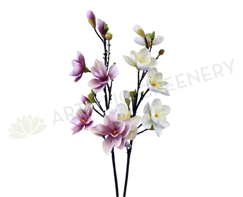 F0261 Large Magnolia Spray PU 118cm Pink / White (Adjustable Petals)