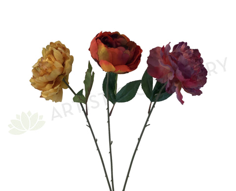 F0266 Rustic Peony Single Stem 64cm 3 Colours (CLEARANCE STOCK)