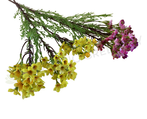 F0301 Artificial Austrlaian Wax Flower Spray 78cm Yellow / Pink | ARTISTIC GREENERY