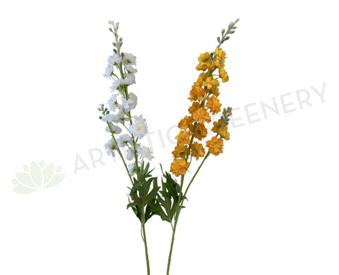 F0317 Artificial Delphinium Stem 86cm White / Orange | ARTISTIC GREENERY
