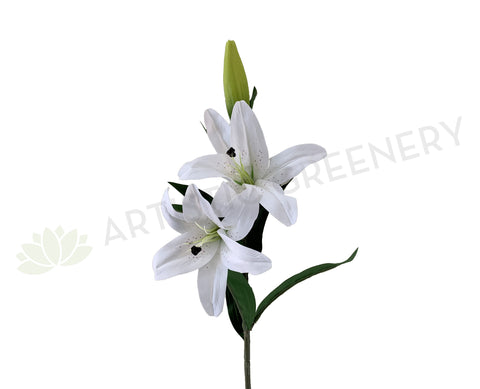 F0318 Artificial Oriental / Tiger Lily Spray (Real Touch) 96cm White Synthetic Flowers Perth | ARTISTIC GREENERY