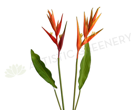 F0325 Faux Heliconia Single Stem 107cm Red / Orange (Tropical Flowers) | ARTISTIC GREENERY