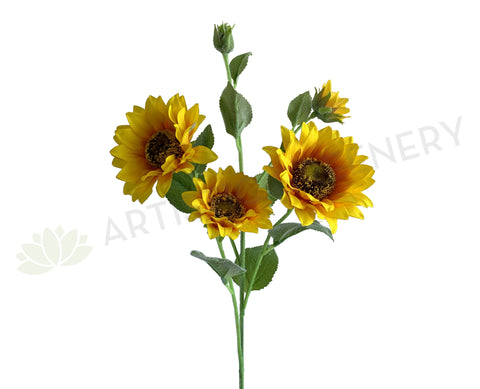 F0332 Artificial Sunflower Spray 61cm Yellow | ARTISTIC GREENERY