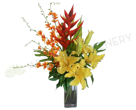 FA1002B - Faux Flowers - Corporate Style Lilies Floral Arrangement (Vibrant colour arrangement) 78cm Tall | ARTISTIC GREENERY