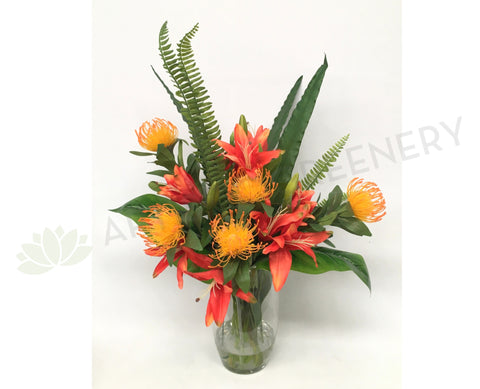 FA1023 - Orange Protea and Pink Lilies Floral Arrangement
